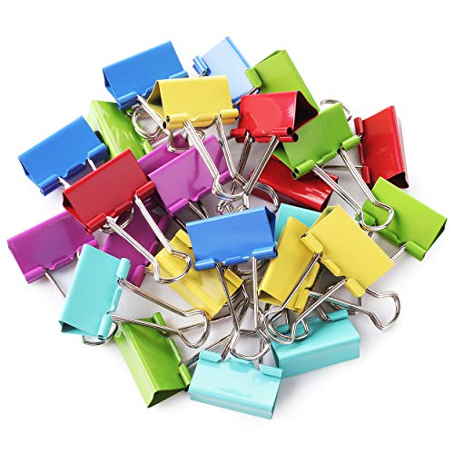 Mr. Pen- Binder Clips, 1.25 inch, 25 Pack, Medium, Colored Binder Clips, Binder Clips Medium Size, Color Binder Clips, Clips, Paper Clips, Binder Clip, Clips for Paperwork, Office Clips