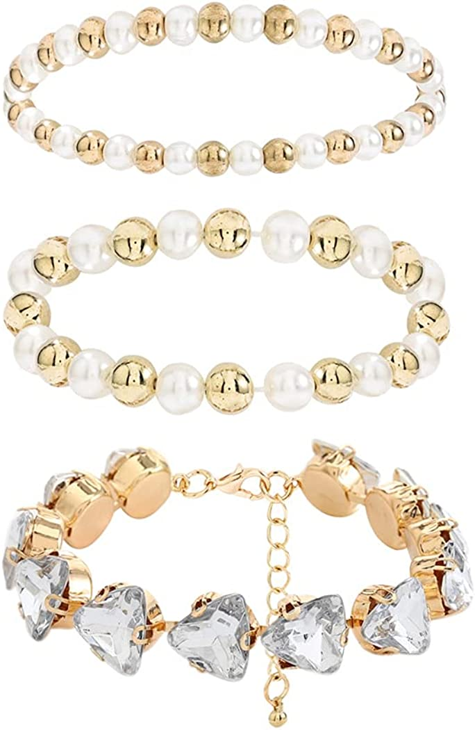 Woeoe 3 Pcs Beaded Bracelet Gold Rhinestone Pearl Layered Stackable Bracelets Dainty Crystal Stretch Bangles for Women and Girls