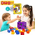 ETI Toys | 19 Piece Unique Educational Sorting & Matching Toy for Toddlers. Colorful Sorter Cube Box & Shapes - 100% Non-Toxic Safe Materials - Promotes Fun Learning, Creativity & Skills Development