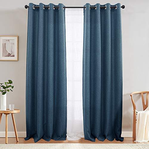 jinchan Textured Linen Curtain Panels Bedroom Drapes Living Room Thermal Insulated Room Darkening Window Treatment Set, Grommet Top (2 Panels, L95-Inch, Denim Blue)