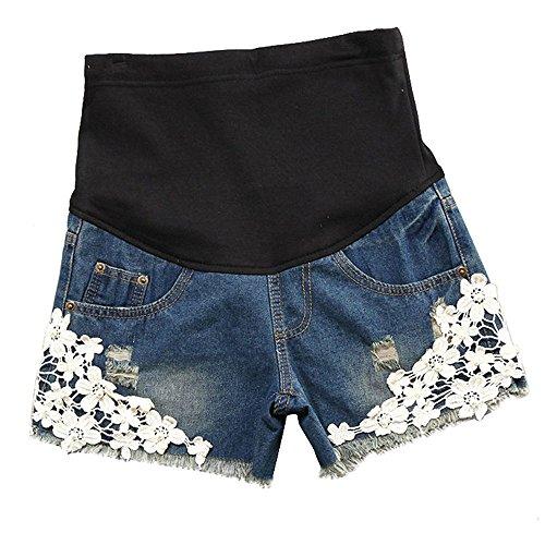 huateng Shorts en Denim Femmes Enceintes, Summer Dentelle maternité Shorts