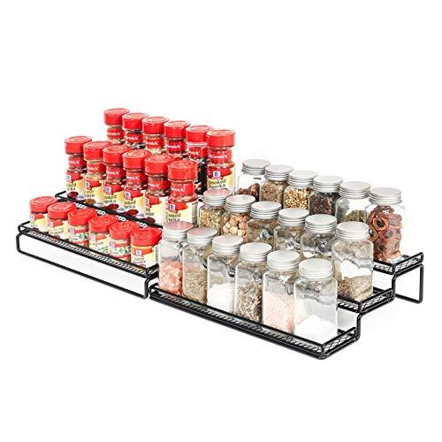 Especiero Cocina Extensible Estante para Especias Organizador 2 Pack 3 Niveles Organizar para Botes de Especias Soportes Especiero Cajon Accesorios de Cocina para Despensa, Armario, Encimera
