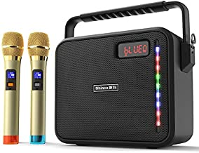 Shinco Portable Karaoke Machine with 2 Wireless Microphones, Bluetooth Karake Speaker Battery Powered PA System for Party Classroom Church Meeting