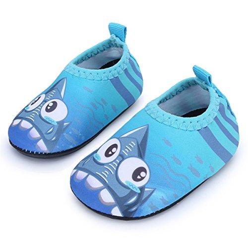 JIASUQI Baby Kleinkind Säugling Barfuß Schwimmen Wasser Haut Schuhe Aqua Socken für Strand Schwimmen Pool,lau Hai,12-18 Monate (Herstellergröße : 19/20)