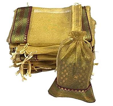 KRIWIN® Pack of 100 pcs Tissue Drawstring (18 cms X 12 cms) Potli/Bag