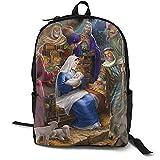 Sagrada Familia Navidad Natividad religiosa chica clásica escuela mochila color sólido Bookbag para adolescente negro