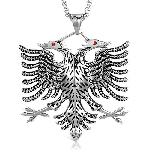 NUANYANG Albanischer Adler Anhänger Amulett Halskette Albanischer Schmuck, Männer und Frauen ethnischen Stil-Sliver_60cm