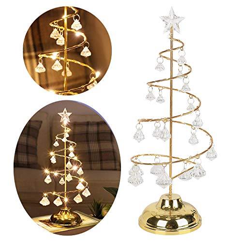 ZHEN good mood クリスマスツリー 卓上 ミニクリスマスツリー 電気スタンド 飾り 電飾 奇麗 可愛い イルミネーション クリスタル 誕生日 水晶 (ゴールド)