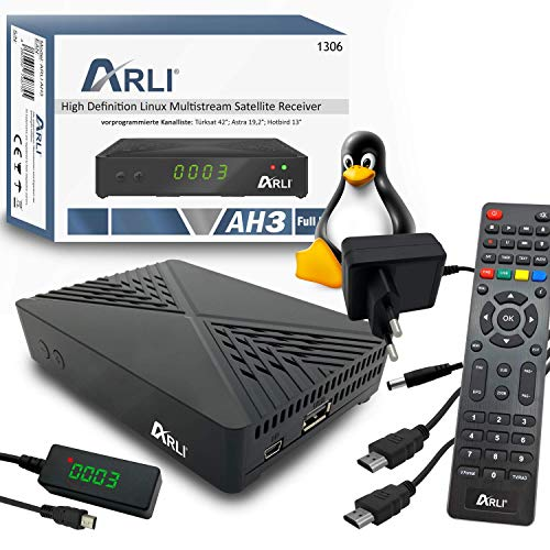 ARLI AH3 HD S2 IP Receiver Linux Sat TV Mini Box + Kanalliste Astra Hotbird Türksat Full HD LAN USB Sat DVB-S2 Receiver IPTV Player YouTube IR Sensor Display Web Weblet Multimedia