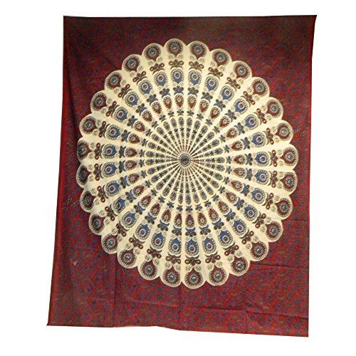 Couverture Indienne Tenture Plumes Paon Blanc Bordeaux 230x200cm Coton Ameublement Décoration Textile Couvre-lit