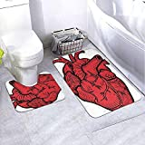 Juego de Alfombrillas anatómicas Heart Heart de 2 Piezas, Alfombrillas de baño Antideslizantes y Combo de alfombras de baño Contour