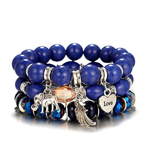 Liebes Armband - Drei natürliche Perlenarmband mit Anhänger Liebe, Feder und Glückselefanten.
