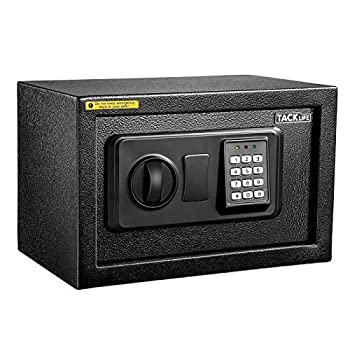 TACKLIFE-Small Safe Box 0.3Cubic Feet Lock Boxes Portable with Keypad Lock and Keys for Home Office Hotel Business Money Safe Cash Jewelry Passport Gun Security-20SA