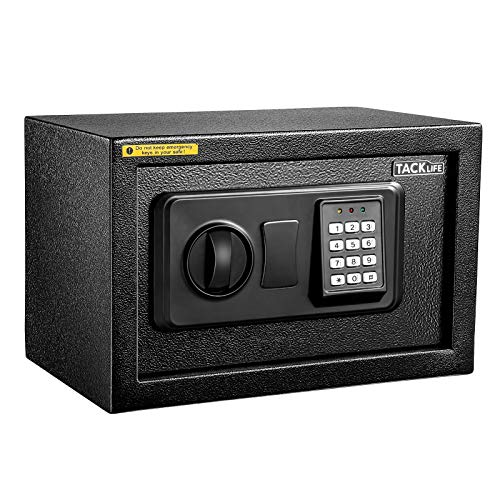 TACKLIFE-Small Safe Box 03Cubic Feet Lock Boxes Portable with Keypad Lock and Keys for Home Office Hotel Business Money Safe Cash Jewelry Passport Gun Security-20SA