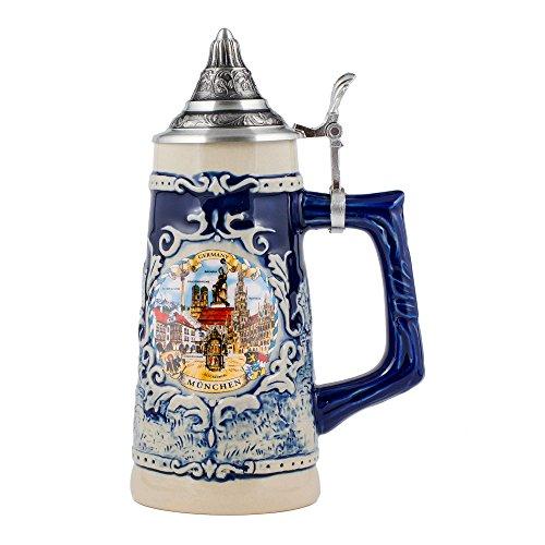 M. Cornell Germany Munich Stoneware Raised Relief Decorative Half Liter Beer Stein...