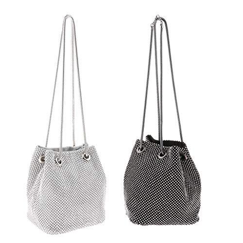 B Baosity 2 Piezas Mujer Moda Diamante Bucket Bag Party Chain Evening Bag Clutch