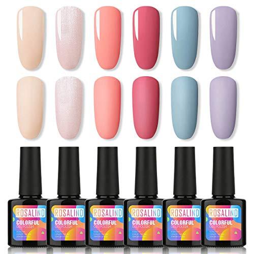 ROSALIND Nagellack Gel Gellack UV Semi-permanent Soak Off Varnish Pastell Lack 6 Farben