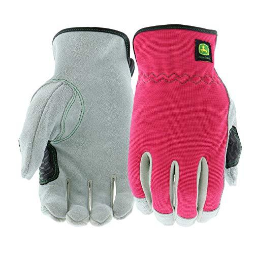 West Chester John Deere JD00016-WML Split Cowhide Leather Gloves - [1 Pair] Medium Large Women's Work Gloves, Pink Black