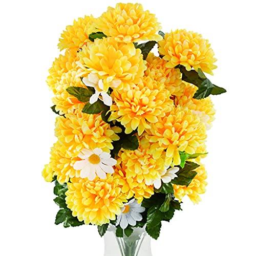 Rabbihom Large 65 × 40cm Chrysanthème et Camomille Fleurs artificielles Fausses Fleurs Bouquet en Plastique réaliste Plante Artificielle Intérieur et extérieur Maison Jardin Cimetière Décoration