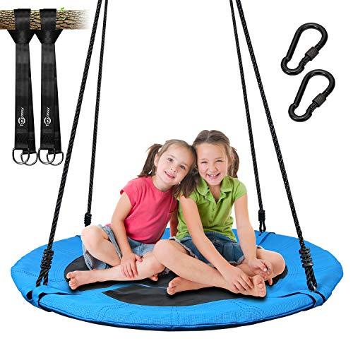 Trekassy 300KG Nestschaukel für Kinder Erwachsene Garten Outdoor mit 100cm Sitzflächendurchmesser und 2 600KG belastbaren Schaukel Gurte Blau