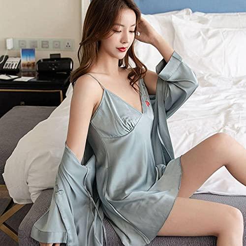 YHWW Ropa de Dormir,Conjuntos de Batas para Mujer Vestido de Seda de Encaje de Verano Ocio Elegante 2 Piezas Bata de salón para Dormir Ropa de Dormir Camisón para Mujer Albornoz Suave Nuevo,