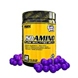 Man Sports Iso Amino Pure Isolated BCAA. Fat Burning Grape Bubblegum Flavored BCAA Powder for Muscle Recovery and Lean Muscle Growth (30 Servings)