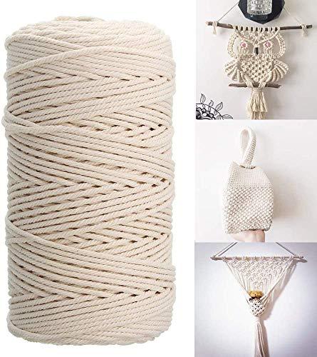 Makramee Garn, 3mm Kordel Natur Baumwollkordel für Makramee Blumenampel, Garn für DIY Handwerk, Weben Dekoration, Hängepflanze Pflanze Aufhänger