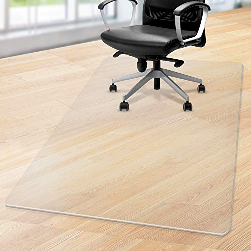 LezGo Premium Office Chair Mat for Carpeted Floor, 48x36 Heavy Duty Easy Glide Transparent Mats for Desks Chairs, Office and Home, High Impact Strength Clear
