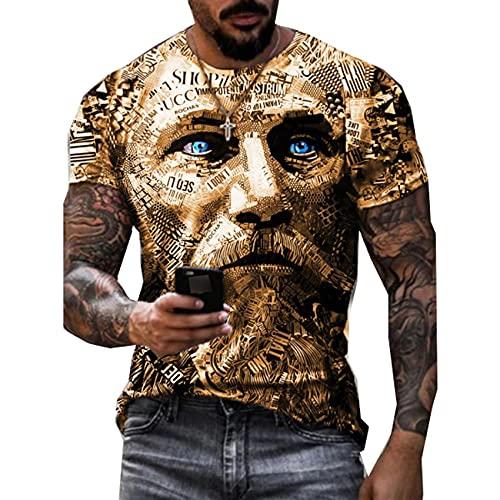 LaiYuTing Camiseta para Hombre con Estampado De Estilo Callejero, Cuello Redondo, Camiseta Transpirable para Todos Los Partidos, Camiseta Estampada De Estilo Retro
