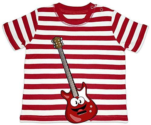 Hariz - Camiseta para bebé, diseño de rayas y guitarra eléctrica con texto en alemán