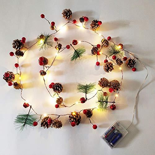 Queta - Guirnalda de 20 luces LED, de ratán, con piñas de abeto, funciona con pilas, para decoración navideña en la habitación familiar, luz blanca cálida, 1,9 m (sin pilas)