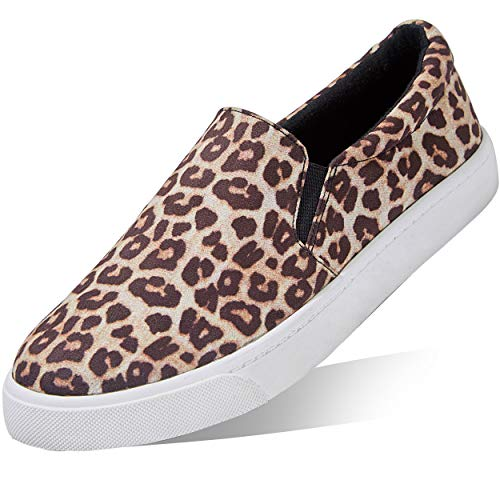 Womens Flat Fashion Sneakers Foldable Loafers Driving Walking Flats Cushioned Insole Shoes Casual Slip-on Cheetah,s,v,8.5