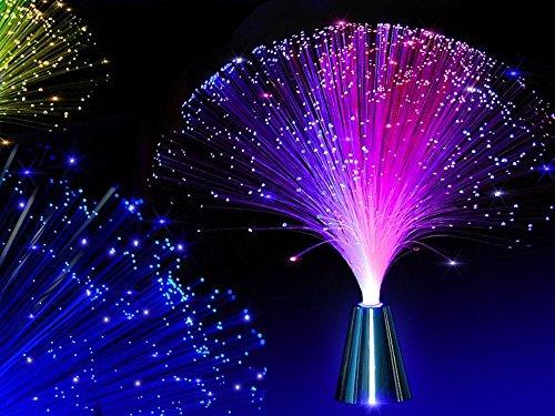 2Pcs LED Colourful Changing Fibre Fiber Optic Fountain Night Light Calming Lamp Christmas