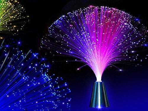 2Pcs LED Colourful Changing Fibre Fiber Optic Fountain Night Light Calming Lamp Christmas