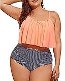 Trajes de Baño para Mujer 2021 Dos Piezas para Gorditas - Plus Size Swimsuits for Women Two Piece, Striped Ruffle, Womens Swimsuits Tankini, Plus Size Bathing Suits, Plus Tankini Swimsuits (SRT) (3XL)