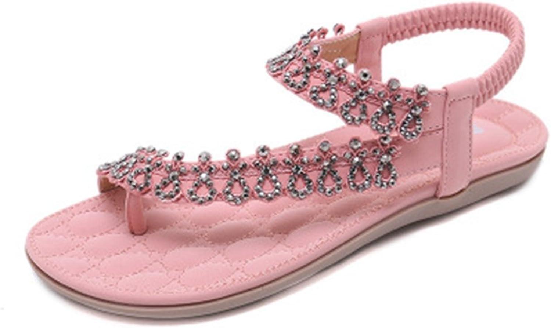 GIY Women's Sparkly Rhinestone Flat Flip Flops Bohemian Sandals Comfort Summer Beach Elastic Thong Pink
