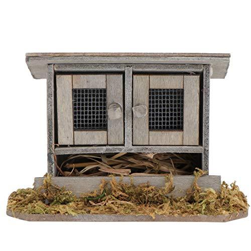 Doitool Miniature Wooden Chicken Coop, 1PC Simulation Chicken Nest Mini Chicken Coop Decor Outdoor Henhouse Adornment