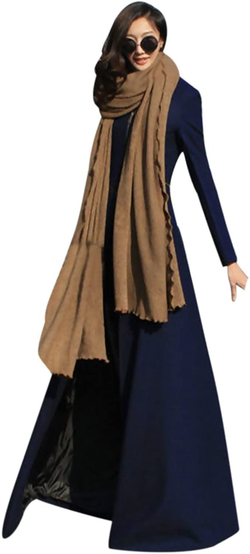 HUASHI Womens Slim FloorLength Woolen Coat Windbreaker