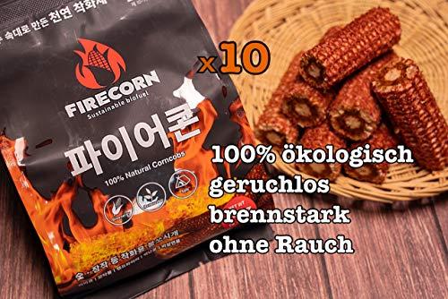 FIRECORN - ÖKO-Anzünder für Grillkohle und Kamin aus Maiskolben, 100% ökologisch, geruchlos, brennstark, ohne Rauch, 120g x 10 Packungen, Herstellung aus Südkorea