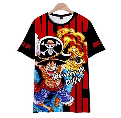 ONLYONE1 T-Shirts Kinder Animatie Een Stuk Luffy 3D Digitale Drukken mannen Ademend Losse Sport Casual Korte mouw T-Shirt