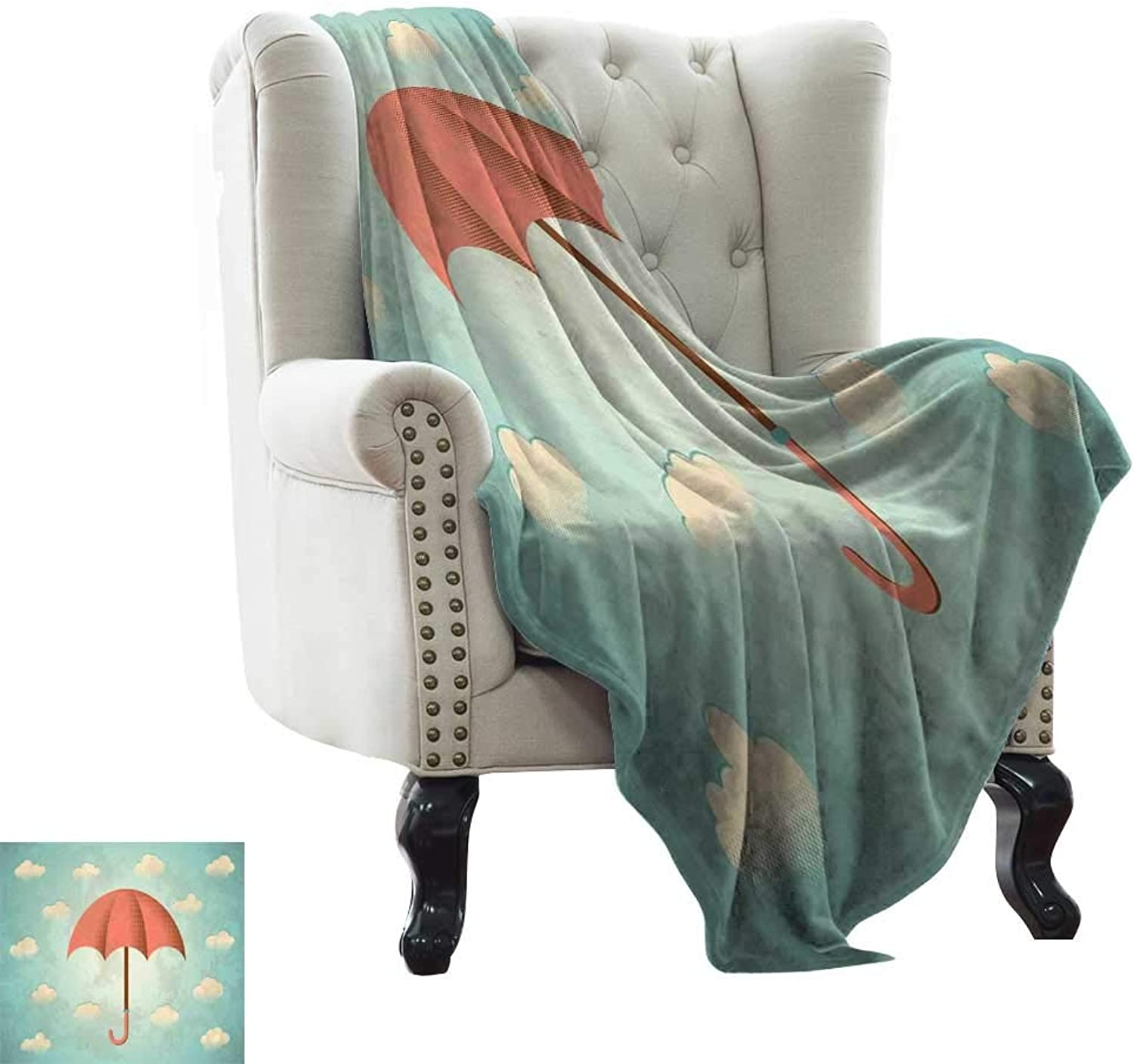 LsWOW Weighted Blanket for Kids Umbrella,Aged Vintage Composition with Clouds and Umbrella Grunge Look,Turquoise Cream Dark Coral Blanket for Sofa Couch TV Bed All Season 50 x60