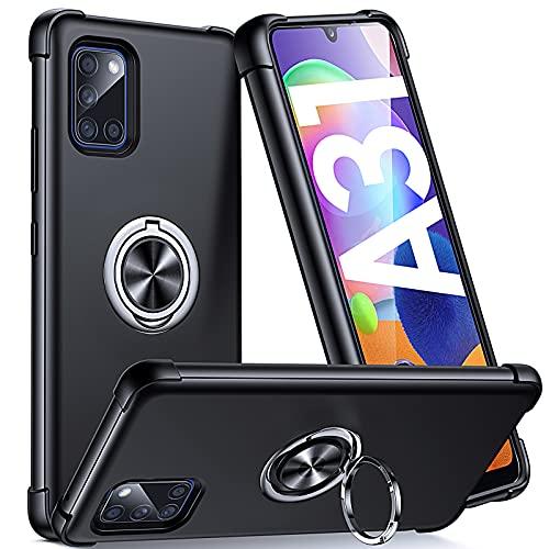 Supdeal Compatible con Funda Samsung Galaxy A31 (6,4'), Carcasa Posee Anillo Magnético Prueba de Golpes de 360 Grados Resistente Rayones, Protección Cubierta del Soporte, Negro