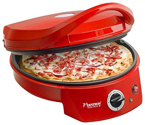 Bestron Forno elettrico per pizza con grill, Viva Italia, Calore superiore e inferiore, Fino a 180°C, 1800 Watt, Rosso