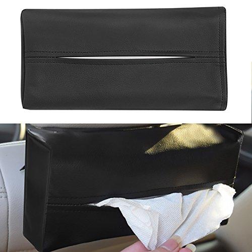YSHtanj Tissue Box Interieur Opslag Tissue Case Faux Lederen Tissue Papieren Doos Servet Opbergtas Houder Thuis Auto Auto Auto Voertuig - Zwart