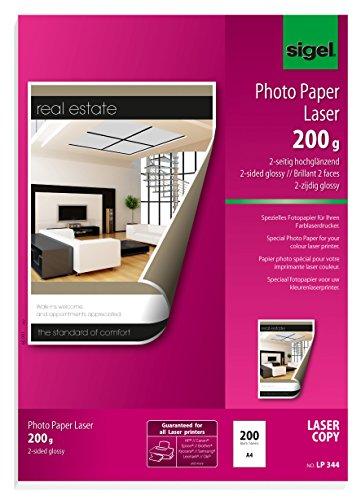 SIGEL LP344 Fotopapier für Laser / Kopierer, A4, 200 Blatt, hochglänzend, beidseitig bedruckbar, 200 g - weitere Grammaturen