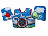 "PADDLE PALS – Safest Patented U.S. Coast Guard Approved ""Learn to Swim"" life jacket with attached arm bands for teaching kids to safely learn to swim SAFETY SHOULDER HARNESS – Prevents children from removing the vest without parental help and keeps t..."