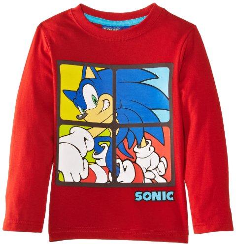 SEGA Jungen Sonic EN1222 Langarmshirt, Rouge (True Red), 4 Jahre