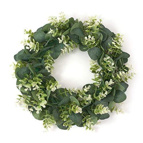 æ—  Artificial Eucalyptus Green Leaves Wreath,15.7inch Floral Hoop Wreath,Spring/Summer Greenery Wreath Door Hanging Garland for Festival Celebration Wedding Window Wall Decor