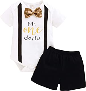 Baby Boy First Birthday Clothes Set Infant Mr Onederful Boy Long Sleeve Romper + Pants Cake Smash Outfits