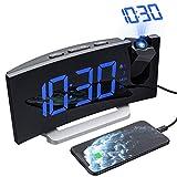 Mpow Despertadores Digitales Radio Despertador Proyector Alarma Dual con 4 Sonidos 3 Volúmenes, 6 niveles de Brillo de...